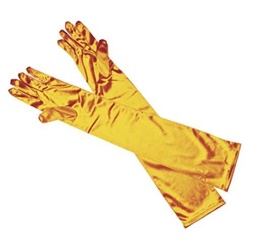(1 Pc (1-Pair) Bang-up Popular Hot Long Satin Glove Smooth Silky Bridal Gift Opera Club Costume Color Yellow)