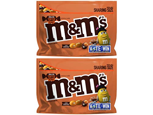 M&M's (Pack of 2) Chocolate Candy Flavor Vote English Toffee Peanut Sharing Size, 9.6 Ounce -