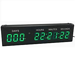 BTBSIGN LED Countdown Clock Safety Event Timer with Remote and Buttons for 1.8'' 9 Digits Green