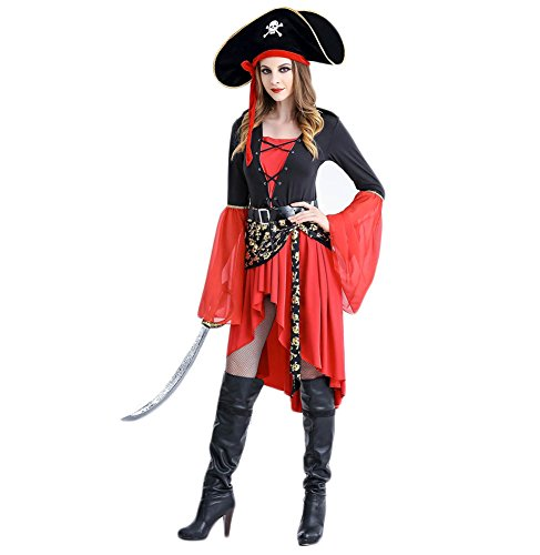 [Bikini Factory Halloween Adult Women Pirate Costume Dress with Hat (2XL)] (Plus Size Sexy Pirate Costumes)