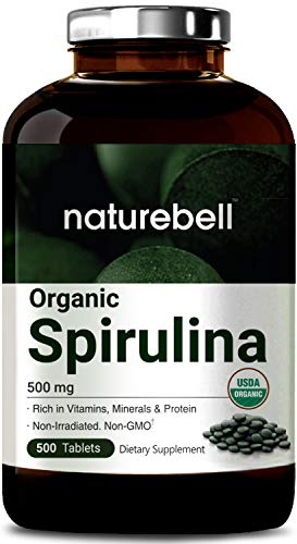 Organic Spirulina, 3000mg Per Serving, 500 Tablets, Best Superfood Rich in Vitamins, Minerals, Fatty Acids, Protein, Chlorophyll, Phytonutrients & Antioxidant, Non-GMO and Vegan Friendly