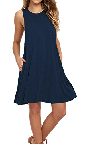 AUSELILY Women's Sleeveless Pocket Casual Loose T-Shirt Dress Tank Sundress (M, Navy Blue)