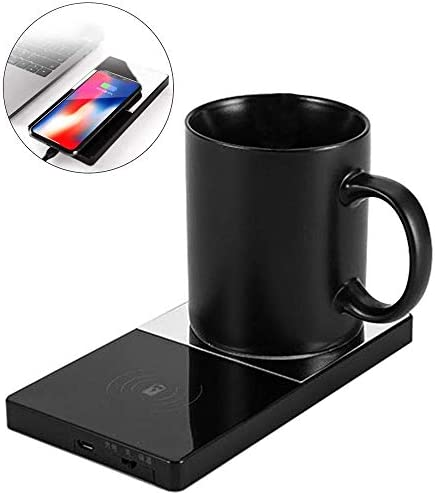 GTJXEY Electric Heat Insulation Plate 2 in 1 Coffee Mug Warmer&Wireless ChargerMirror Design 5Mm Sensing Distance for OfficeHome Use / GTJXEY Electric Heat Insulation Plate 2 in 1 Coffee Mug Warmer&Wireless ChargerMirror Design 5Mm...