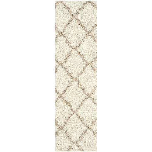 Safavieh Dallas Shag Collection SGD257B Ivory and Beige Runner (2'3