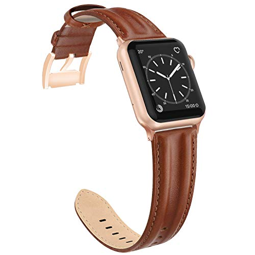 (SWEES Leather Band Compatible with Apple Watch 38mm 40mm, Genuine Leather Classic Design Wristband Women Strap Compatible with Apple iWatch Series 4 Series 3 Series 2 Series 1, Sports & Edition Brown)