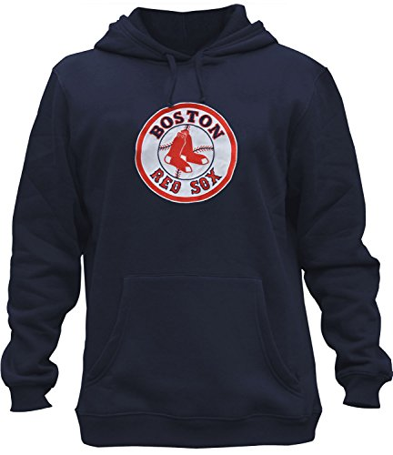 Mens Red Sox Embroidery Heavy Soft Sweatshirt Hoodie (Navy, XL)