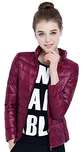 Available Puffer Jack Santimon 10 Outwear Packable Jacket Coat Color Stand Winered Collar Womens Short Down ff0wqOB
