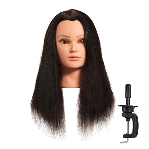 Hairginkgo Mannequin Head 20-22 100% Human Hair Manikin Head Hairdresser Training Head Cosmetology Doll Head for Styling Dye Cutting Braiding Practice with Clamp Stand (91806LB0214)