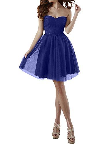 Traegerlos Blau La Herzausschnitt Kurz Einfach Cocktailkleider mia Jugendweihe Mini Royal Kleider Brautjungfernkleider Brau Abendkleider OxZrxH