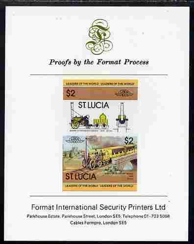 St Lucia 1983 Locomotives  1 (Leaders of The World)  2 Stephenson's Rocket seTenant Pair imperf Mounted on Format International Proof Card Railways JandRStamps