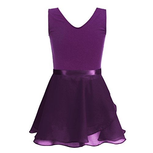 TiaoBug Girls' Classic Camisole Sleeveless Tank Leotard Tied Skirted Outfits for Gymnastics Training Ballet Dance Costumes Dark Purple 8-10 (Clothing Artistic Gymnastics)