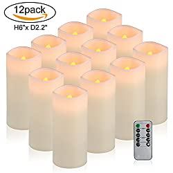 "Comenzar Flameless Candles, Battery Operated 6"" Candles Set Of 12(d2.2 X H6 Pillar Real Wax Led Candles With Remote Timer By (Ivory)"