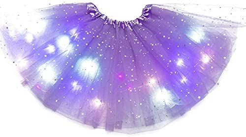 Magic Light Princess LED Dancing Skirt,Baby Girls Tulle Mini Tutu Skirt Kids Luminous Party Stage Dress Up