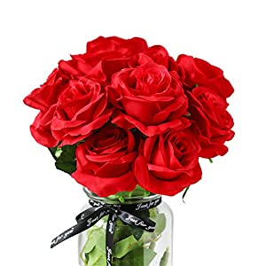 DuHouse 10pcs Fake Roses Artificial Silk Flowers for Arrangement Wedding Party Home Decoration (Red Long Stem)