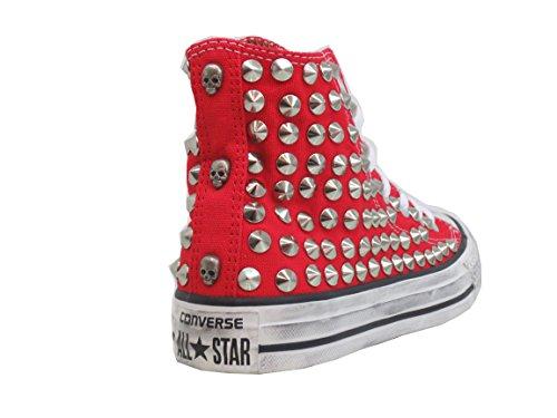 Converse prodotto Borchie Red Borchiate Star Artigianale Teschi All Rosso prpqO0a