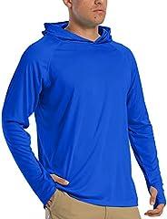 KEFITEVD Mens Sun Protection Shirt Long Sleeve with Hoodie UPF 50 Rashguard Outdoor Fishing Shirts