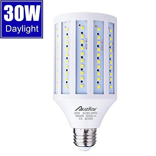 30W LED Corn Light Bulb for Indoor Outdoor Large Area, E26 3000Lm 6500K Cool White,Super Bright Daylight LED Corn Bulb for Garage Barn Workshop Warehouse Factory Porch Backyard High Bay, 85V-265V