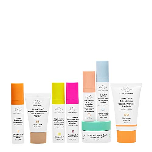 Drunk Elephant The Littles 3.0 Kit. Travel Skin Care Essentials Bundle w/Bag (Jelly Cleanser, SPF 30 Sunscreen, 3 Day & Night Serums, Facial Oil, Multivitamin Eye Cream, and Peptide Cream) by Drunk Elephant (Image #1)