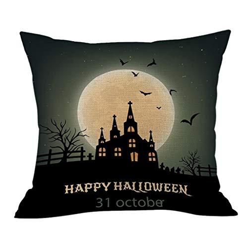 Yomiafy Halloween Theme Pillow Case Flax Pumpkin Castle Throw Pillow Covers Sofa Car Home Decoration Cushion Cover - Flax Car