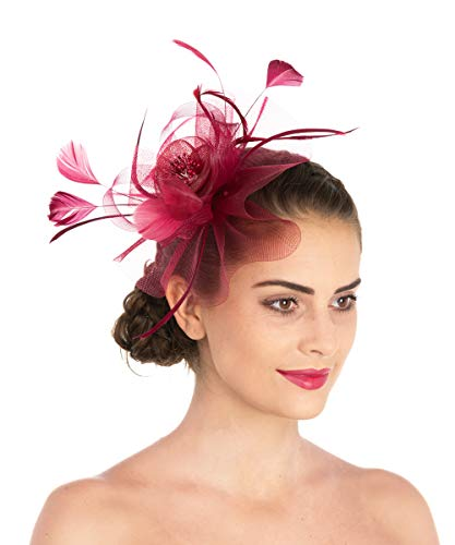Lucky Leaf Women Girl Fascinators Hair Clip Hairpin Hat Feather Cocktail Wedding Tea Party Hat (7-Burgundy) ()
