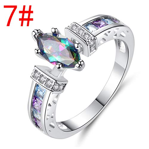 (Women Colorful Ring Personality Color Diamond Ring Classical Stainless Steel Solitaire Engagement Ring)