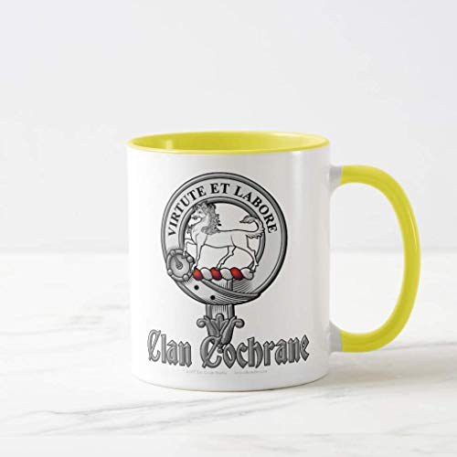 FiuFgyt Clan Cochrane Emboss Badge Frosted Glass Beer Yellow Christmas Coffee Mug Funny 11oz Sarcasm Mug Cup Present for Girls Boys