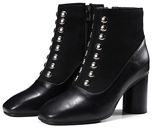 Rivets Womens Square Heeled Mid Black Ankle Trendy Up Chunky Boots Toe Zip With IDIFU 76wRxUR