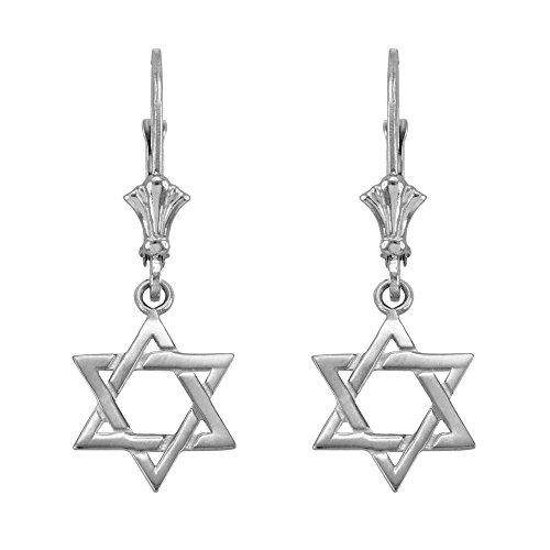 (Jewish Star of David Dangle Earrings 925 Sterling Silver)