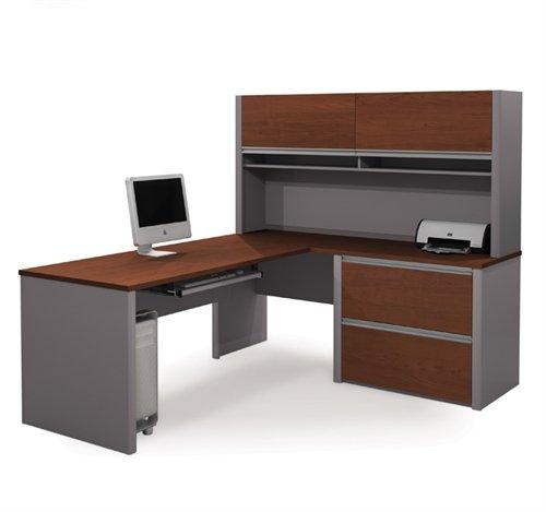 - Bordeaux & Slate L-shaped Corner Computer Desk with Hutch & Oversized Pedestal