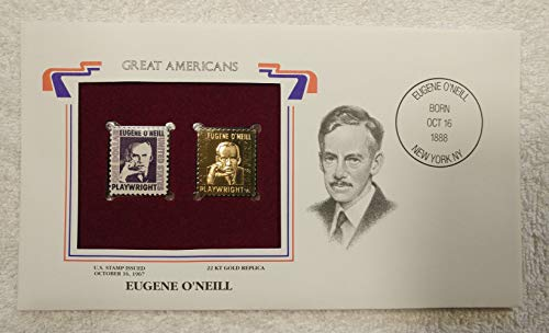 (Eugene O'Neill - Great Americans - Postage Stamp (1967) & 22kt Gold Replica Stamp plus Info Card - Postal Commemorative Society, 2001 - Playwright, Theater)