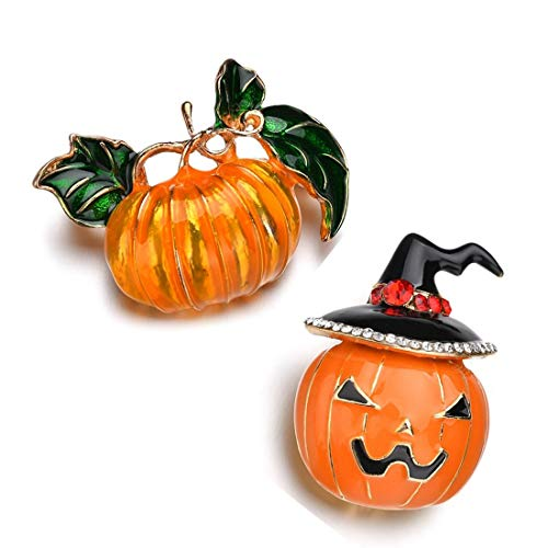 MengPa Pumpkin Brooch Enamel Pins Halloween Fashion Jewelry for Women Gift