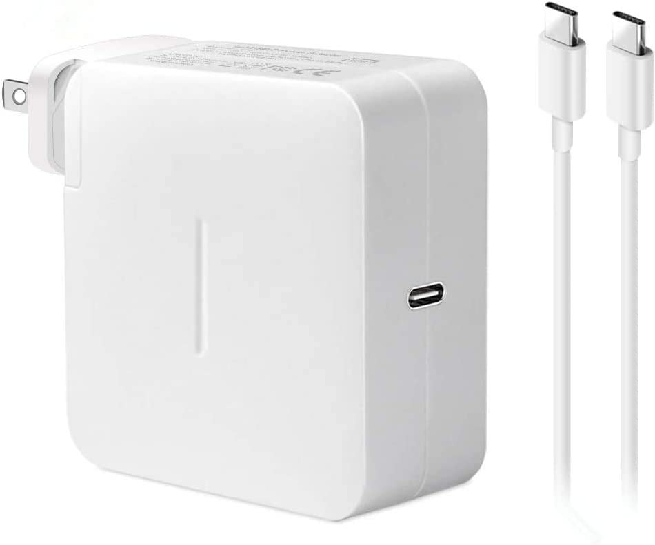 87W USB C Charger Power Adapter Compatible with MacBook Pro 15/13 inch, New MacBook Air 13 inch, MacBook 12 inch, 2020/2018 iPad Pro 12.9, 11, Thunderbolt 3, with USB C Cable, White