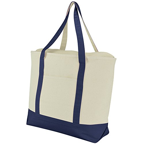 "DALIX 22"" Large Cotton Canvas Zippered Shopping Tote Grocery"