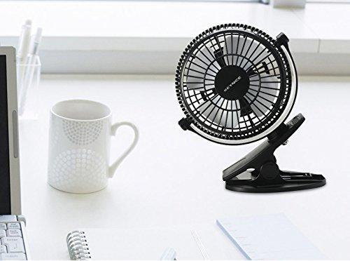 KEYNICE USB Clip Desk Personal Fan, Table Fans,Clip on Fan,2 in 1 Applications, Strong Wind, 2 in 1 Applications, Strong Wind, 4 inch 2 Speed Portable Cooling Fan USB Powered by Netbook, PC by KEYNICE (Image #5)
