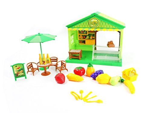 PlayMarket 27 Piece Playfood Mini Fruit Market Shop Toy Set with Music Lights and 2 Pocket Dolls Included