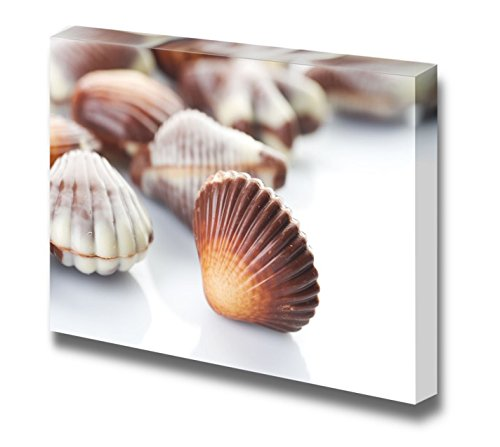 Canvas Prints Wall Art - Swiss Chocolate Seashells Isolated on White - 12