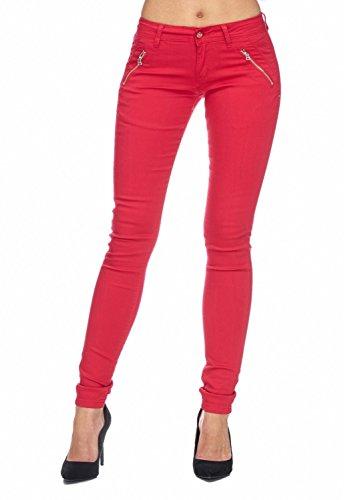 Arizonashopping - Hosen Pantaloni In Tessuto Da Donna Tube Treggings Skinny Fit D1943 Rosso