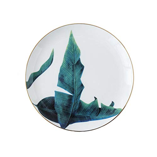 WXLHBSTM 1pc Rainforest Ceramic Plate Handcraft Leaf Gold Inlay Porcelain Serving Platter Steak Plates Dishes Home Kitchen Deco