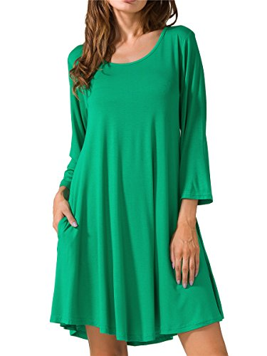 JollieLovin Women's Casual Swing 3/4 Sleeve Pockets T-Shirt Loose Dress (Deep Green, 2X) -