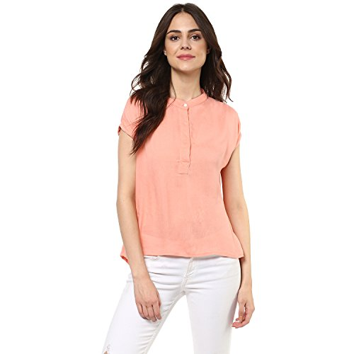 mayra Women #39;s Rayon Pink Color Short Sleeve Top