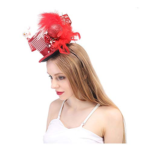 MXL Women's Red Christmas Mini Top Hat, Red and White Holiday Mini Top Hat Steampunk Christmas Tea Hat, New Year's Mini Top Hat (Color : Red, Size : 25-30CM)