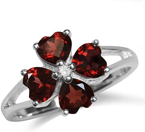 2.28ct. Natural Heart Shape Garnet 925 Sterling Silver Clover Ring