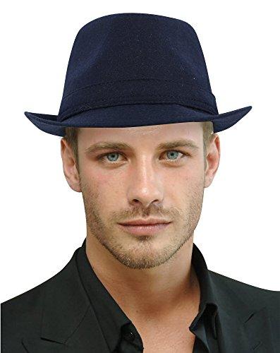 EPGM Fedora Hat Women/Mens Classic Short Brim Manhattan Gangster Trilby Cap