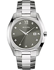 Bulova Mens Quartz Stainless Steel Dress Watch, Color:Silver-Toned (Model: 96D122)
