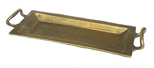 ZUCCOR TARS Zocor Cast Aluminum Serving Tray in Antique Bronze Finish Medium, 18