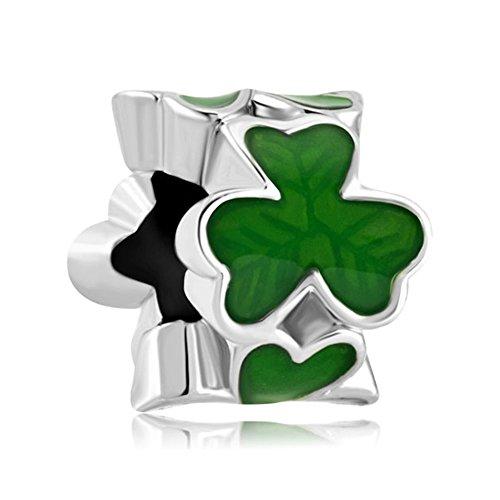 (LilyJewelry Three Leaf Clover Shamrock Charm Beads For Bracelets)