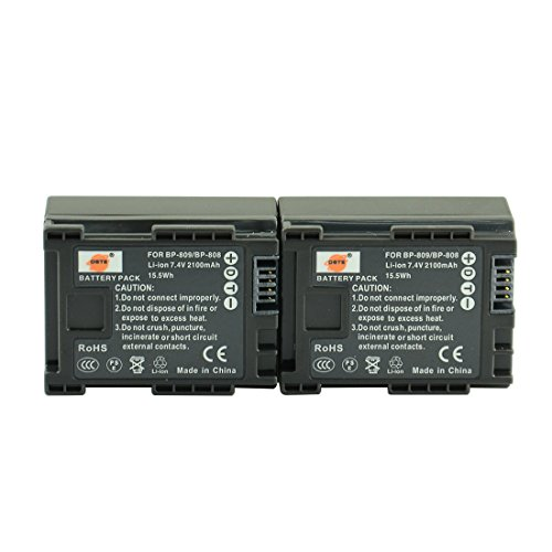 DSTE 2x BP-808 Replacement Li-ion Battery for Canon FS406 HFM400 HF100 HF M300 HF S100 HF S200 FS36 FS37 HF200 HFS11 HF100 HF20 HG21 Camera as BP-809 BP-819 BP-827