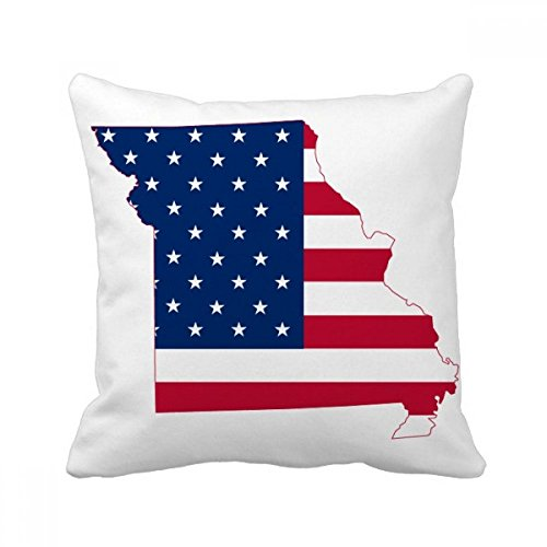 DIYthinker Missouri USA Map Stars And Stripes Flag Shape Square Throw Pillow Insert Cushion Cover Home Sofa Decor Gift