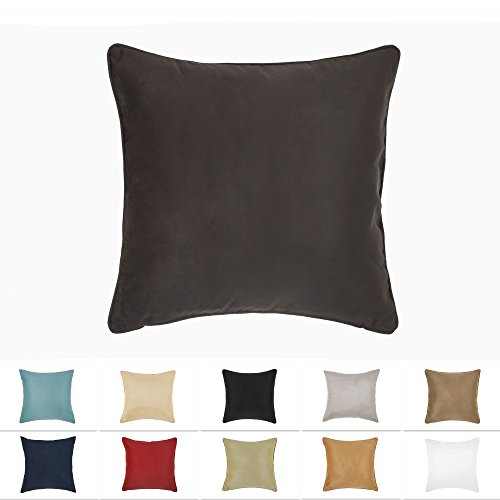 (DreamHome 26 X 26 Inches Brown Color Faux Suede Decorative Euro Pillow Cover, Throw Pillow Case with Hidden Zipper, Super Soft High Quality Faux Suede On Both)