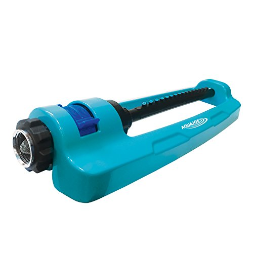 Sun Joe SJI-OMS16 Indestructible Metal Base Oscillating Sprinkler with Adjustable Spray Drive Gear 3 Way